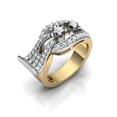 Кольцо АГ 074 (2) Са?ина (Алтын 585) Фианит