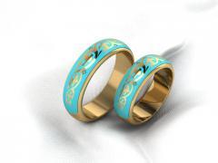 Обручальное кольцо RNG010087 Са?ина (Алтын 585) Эмаль Фианит