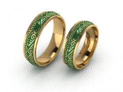 Обручальное кольцо RNG010102 Са?ина (Алтын 585) Фианит Эмаль