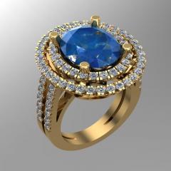 Кольцо RNG020253 бр Са?ина (Алтын 585) Бриллиант кр. VVS1 F-G 0,63 кт.