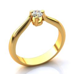 Кольцо А 231 бр Са?ина (Алтын 585) Бриллиант кр. VVS1 F-G 0,18 кт.
