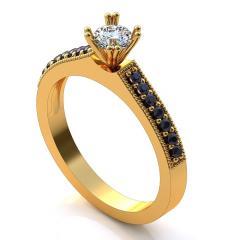 Кольцо А 243 бр Са?ина (Алтын 585) Бриллиант кр. VVS1-G 0,2 кт Изумруд 0,25 кт