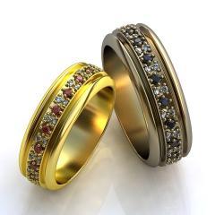 Обручальное кольцо RNG010028 Са?ина (Алтын 585) Фианит Эмаль