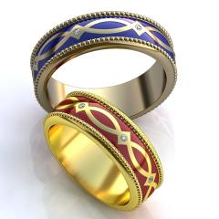 Обручальное кольцо RNG010024 Са?ина (Алтын 585) Эмаль