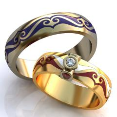 Обручальное кольцо RNG010106 Са?ина (Алтын 585) Фианит Эмаль