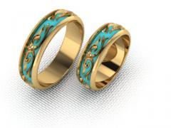 Обручальное кольцо RNG010099 Са?ина (Алтын 585) Эмаль