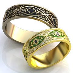 Обручальное кольцо RNG010111 Са?ина (Алтын 585) Эмаль