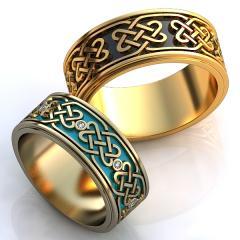 Обручальное кольцо RNG010018 Са?ина (Алтын 585) Эмаль