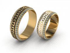 Обручальное кольцо RNG010097 Са?ина (Алтын 585) Эмаль Фианит