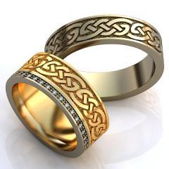 Обручальное кольцо RNG010079 Са?ина (Алтын 585) Фианит Эмаль