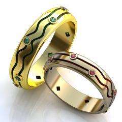 Обручальное кольцо RNG010043 Са?ина (Алтын 585) Фианит Эмаль