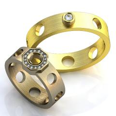 Обручальное кольцо RNG010010 Са?ина (Алтын 585) Фианит