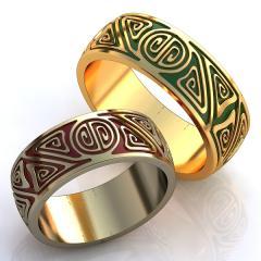 Обручальное кольцо RNG010084 Са?ина (Алтын 585) Эмаль