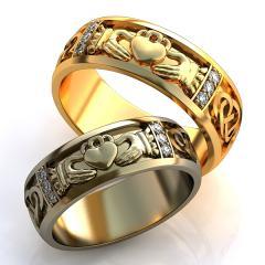 Обручальное кольцо RNG010003 Неке са?инасы (Алтын 585) Фианит Эмаль