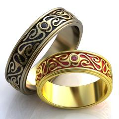 Обручальное кольцо RNG010109 Са?ина (Алтын 585) Фианит Эмаль