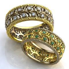 Обручальное кольцо RNG010048 Са?ина (Алтын 585) Фианит