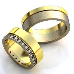 Обручальное кольцо RNG010063 Са?ина (Алтын 585) Фианит Эмаль