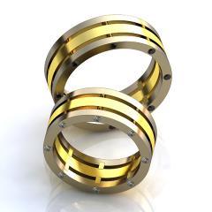 Обручальное кольцо RNG010025 Са?ина (Алтын 585) Фианит