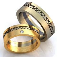 Обручальное кольцо RNG010021 Са?ина (Алтын 585) Фианит