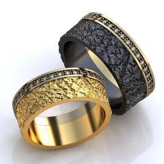 Обручальное кольцо RNG010034 Са?ина (Алтын 585) Фианит