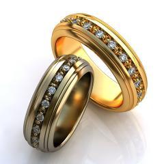 Обручальное кольцо RNG010030 Са?ина (Алтын 585) Фианит