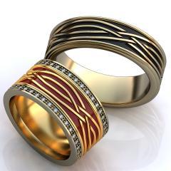 Обручальное кольцо RNG010080 Са?ина (Алтын 585) Фианит Эмаль