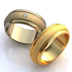 Обручальное кольцо 60ж Неке са?инасы (Алтын 585) Фианит