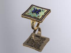 Кольцо RNG020322 Са?ина (Алтын 585) Изумруд и.в. Фианит Эмаль