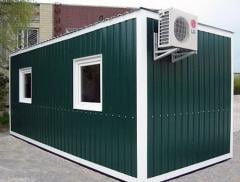 Production; inhabited container, change house,