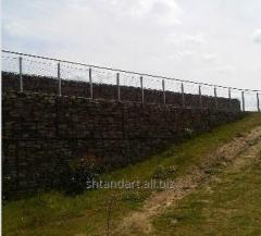 Gabions for strengthening of abrupt slopes.