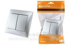 Выключатель 2-х кл. 10А серебр. металлик Лама TDM