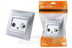 Розетка TV (мама) + SAT (F-разъем) 0-2400МГц серебр. металлик Лама TDM
