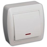 L22 Выключатель1кл.с инд. о/у белый Demet