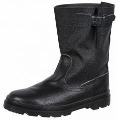 Полусапоги юфть-кирза бортопрошивные цвет черный