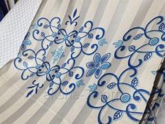 Портьера, Белый в полоску фон. Синими Цветочками
