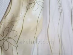 Портьера, с Салатовыми Цветочками, Фон Серый