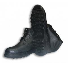 Ботинки Юфть Кирза с искусственным мехом бортопрошивные