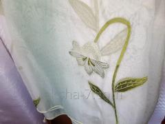 Шторы Тюль Цветочками Темный Зеленый