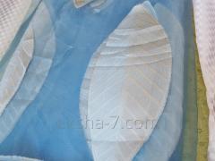 Шторы. Тюль. Синий Фон с Большими Листьями.