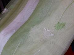 Шторы Тюль Салатовые Листы, Цветы на Белом фоне