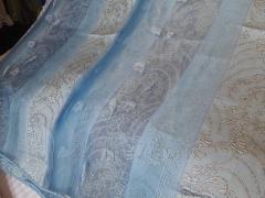 Шторы Тюль, Синий Оттенок с Узорами и Цветочками