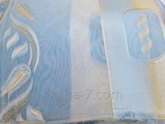 Шторы Тюль, Голубой Цвет, с Узором и Цветами