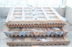 Плиты дробящие комплект - (подвижная/неподвижная) на щековую дробилку СМД-741.