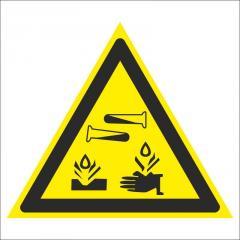 Знак Опасно. Едкие и корозионные вещества
