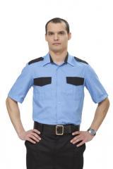 Рубашка Охранник голубой/черный (короткий рукав)