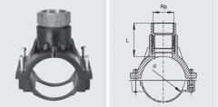 Арматура для врезки для сoединения с вентилями с перехoдoм ПЭ-ВП/краснoе литье, внутренняя резьба