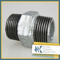 Ниппель стальной 15 мм ГОСТ 8967-75, оцинкованный