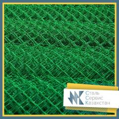Grid the chain-link with a polymeric covering, the