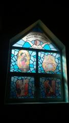 Stained-glass windows are church