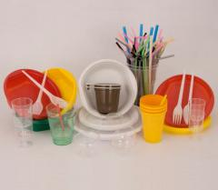 Disposable tableware, plates, forks, knives,